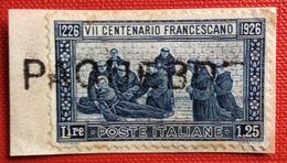VII CENTENARIO FRANCESCANO L. 1,25  Su Frammento Con Annullo PAQUEBOT  Firmato DIENA  RR - Maritime