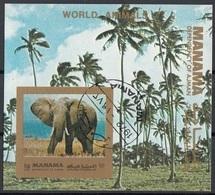 Manama 1972 Bf. 182B Elefante Elephant Sheet Imperf. CTO - Manama