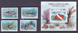 Iles TURQUES Et CAIQUES,   N°540/543 + Bloc 34 , 1981,cote 12€ , Poissons ( W1903/098) - Turks & Caicos (I. Turques Et Caïques)