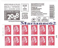 """France 2019 Carnet Marianne L'engagée PRIO DATE """" Le Plus Beau Timbre De L'année 2018 """" - MNH Neuf - Carnets"""