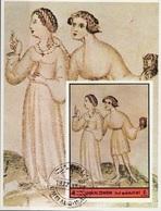 Umm Al Qiwain 1972 Dante Beatrice Divina Commedia Paradiso Miniatura Illustrazione Fg. 3 Imperf. Sheet CTO - Umm Al-Qiwain