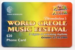 DOMINIQUE REF MV CARDS DOM-C10 Année 2000CREOLE FESTIVAL 2000 - Dominica