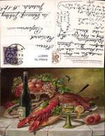 600077,Künstler Ak Kreilich Stillleben Wein Hummer Obst Essen Trinken - Recettes (cuisine)