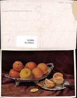 600076,Künstler Ak Stillleben Orangen Obst Messer Essen Trinken - Recettes (cuisine)