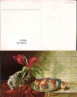 600071,Künstler Ak Stillleben Teller M. Pfirsiche Obst Hund Vase Tulpen Essen Trinken - Recettes (cuisine)