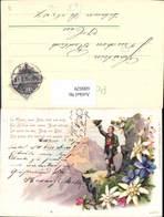 600029,Litho Jagd Jäger Tracht Edelweiß Enzian Spruch Text Pub J. Lindenstrauss 273 - Jagd