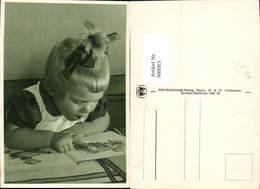 600003,Lesen Blondes Mädchen Schleife Buch Kinderbuch - Ansichtskarten