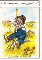 GERMAINE BOURET ..  LA RECOLTE EST BOUNE  ! ... ENFANT AGRICULTEUR .. FOURCHE .. SABOT DE BOIS - Bouret, Germaine