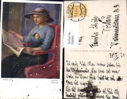 599993,Künstler Ak Bijelic Podlotek Backfisch Frau Zeitung Lesen Hut Hutmode - Ansichtskarten