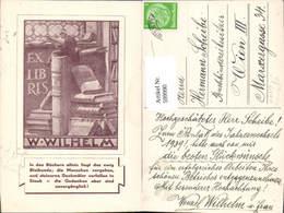 599990,Lesen Mann Sitzt A. Buch Bücher Exlibris Spruch W. Wilhelm Reklame - Ansichtskarten