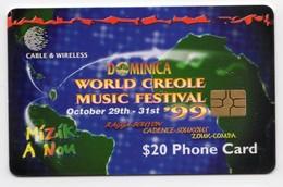 DOMINIQUE REF MV CARDS DOM-C5 Année 1999 World Creole Music FESTIVAL 2000 - Dominica