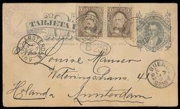 Argentina - Stationery. 1892. Santiago Del Estero - Netherlands. 4c Stat Card + 2 Adtls / Cds. Scarce Origin + Overseas - Argentina