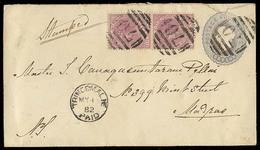 BC - Ceylon. 1882. Trincomalie - India. 4c Stat Env + 2 Adtls. 4c Vert Pair. VF. - Unclassified