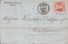 MARQUE POSTALE LAC  29 NIMES A MULHOUSE 40 C ORANGE N° 16  2 SEPT 1854 - Marcophilie (Lettres)