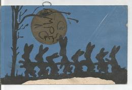 Ribambelle De Lapins Dans La Neige Au Clair De Lune. - Silhouettes