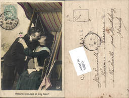 598893,Foto AK Frau Hollywoodschaukel Lesen Buch Kuss Paar Liebe Schaukel - Paare