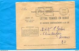 Marcophilie-LETTRE TOMBEE EN REBUT-N°827-1-CAD 1966 Paris Dépot Central Des Rebuts-distribuée - Marcophilie (Lettres)