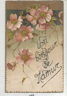 Un Bonjour De Namur. Fleurs D'églantiers. Paillettes. - Souvenir De...