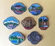 7 Placchette Metalliche Trentino Con Smalti - Pubblicitari