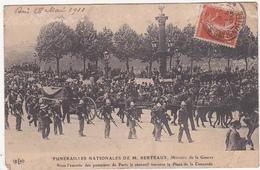 FUNERAILLES NATIONALES DE M. BERTEAUX, Ministre De La Guerre Sous L'escorte Des Pompiers De Paris ... 1911 - Funérailles