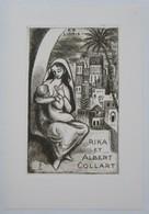 Ex-libris Illustré Espagne XXème - RIKA ET ALBERT COLLART - Mère Allaitante - Ex-libris