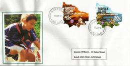ILE NORFOLK (Océan Pacifique), Cinquantenaire Du Scoutisme Dans L'île. Timbres Adhésifs,sur Lettre - Scoutisme