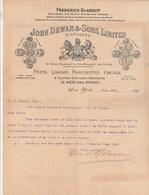 USA Facture Lettre Illustrée 5/8/1898 JOHN DEWAR & Sons Distillers NEW YORK - Agences à Perth London Manchester Chicago - United States