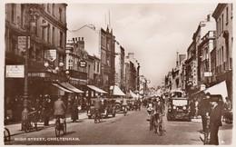 Postcard High Street Cheltenham Animated Shops People Cars Bicycles RP My Ref  B12888 - Cheltenham