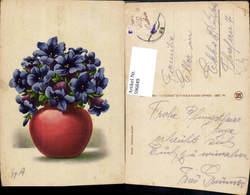596849,Künstler Ak Gg. A. Vase M. Enzian Blumen - Ohne Zuordnung