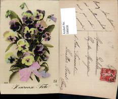 596838,Strauß Stiefmütterchen Schleife Heureuse Fete Blumen - Ohne Zuordnung