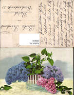 596828,Vase M. Flieger Blau Rosa Blumen - Botanik