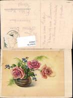 596824,Künstler Ak Vase M. Rosen Vergissmeinnicht Blumen - Ohne Zuordnung