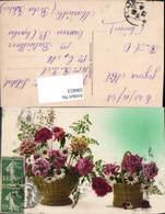 596823,Korb M. Rosen Nelken Margeriten Blumen - Ohne Zuordnung