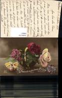 596817,Korb Schale M. Nelken Rosen Fleurs Blumen Pub DIX 1230/5 - Ohne Zuordnung