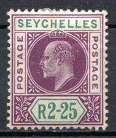 SEYCHELLES - (Colonie Britannique) - 1906 - N° 62 - 2 R. 25 Violet Et Vert - (Edouard VII) - Seychelles (...-1976)