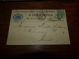 Entier Postal Imprimerie Type Et Lithographique J Goffin & Fils Bruxelles 1901 - Belgique