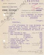 Intendance Départementale D' Epinal , Vosges , Commande Pour Les Prisonniers De Guerre Libérés ,1943 ,2 Scans - Documents