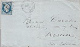 MARQUE POSTALE LAC 25 HAUTERIVES A ROUEN   PC 1493 S/ 14   10/09/1857 - Storia Postale