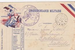 CARTE CORRESPONDANCE MILITAIRE. HONNEUR PATRIE. 37° COLONIAL.   1914. TRESOR ET POSTES SP 44   /  3 - Postmark Collection (Covers)