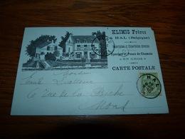 Entier Postal Klimis Frères Hal Importation Et Exportation Directes Eponges Et Peaux De Chamois 1904 Carte Bleue - Belgique