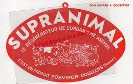 80- DOULLENS- BUVARD SUPRANIMAL PORVIGOR- REGENERATEUR ORGANISME ANIMAL- VACHE COCHON CHEVAL MOUTON CANARD - Produits Pharmaceutiques
