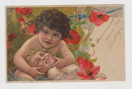 Cartolina Illustrata, Coppia Di Amorini Tra I Papaveri  - F.p.  - Primi  '1900 - 1900-1949