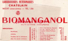 79- NIORT - BUVARD LABORATOIRES VETERINAIRES -VETERINAIRE CHATELAIN- BIOMANGANOL RACHITISME-ANEMIE- - Produits Pharmaceutiques