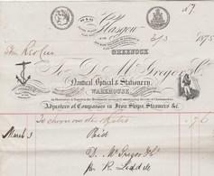 Royaume Uni Facture 3/3/1875 Mc GREGOR Nautical Optical & Stationery GLASGOW Matériel Pour Bateaux à Vapeur - Royaume-Uni