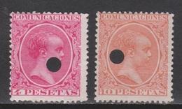 1889. ALFONSO XIII TALADRO TELÉGRAFOS 4 + 10 PTA. 29 €. PRECIOSOS - Telegramas