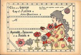 """Etiquette Pour BOITE D'ENVOI DE FLEURS """"CLOS De La GAROUPE - CAP D'ANTIBES"""" Début XXe Art Nouveau -ANEMONES Et FRAISES - 1900 – 1949"""
