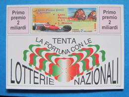 CARTOLINA LOTTERIA NAZIONALE AGNANO E GRAN PREMIO F1 SAN MARINO IMOLA 1996 - Biglietti Della Lotteria
