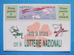 CARTOLINA LOTTERIA NAZIONALE CARNEVALE DI VIAREGGIO E PUTIGNANO 1994 - Biglietti Della Lotteria