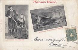 IGLESIAS-RICORDO SARDO-MINIERA MONTEPONI-COSTUME DI IGLESIAS-CARTOLINA VIAGGIATA IL 2-8-1900 - Iglesias