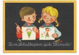 GLÜCKWUNSCHKARTE  -  EINSCHULUNG         1963 - Children's School Start